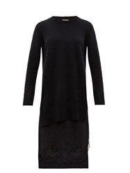 N 21 No. Lace Trimmed Layered Wool And Satin Sweater Dress Black