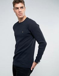 Farah Waffle Logo Long Sleeve Top Regular Fit In Black Black
