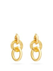 Jil Sander Triple Hoop Brass Earrings Gold