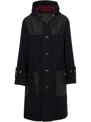 Burberry Double Faced Wool Blend Duffle Coat Blue