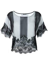 Rosamosario Lace Application Striped T Shirt Black