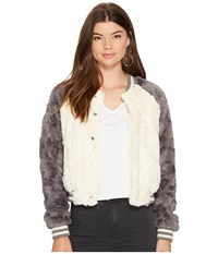 Bb Dakota Aisen Swirly Textured Faux Fur Color Blocked Bomber Ivory Women's Coat White