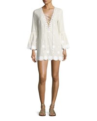 Miguelina Laurie Daisy Embroidered Lace Up Tunic White