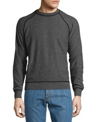 Luciano Barbera Cashmere Contrast Trim Sweater Gray