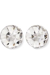 Saint Laurent Silver Tone Crystal Clip Earrings One Size