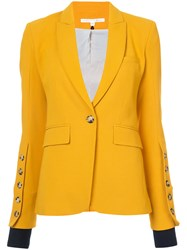 Veronica Beard Single Button Blazer Polyester Spandex Elastane Viscose Yellow Orange