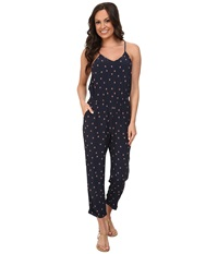 Lucky Brand Diamond Rain Romper Navy Multi Women's Jumpsuit And Rompers One Piece Blue
