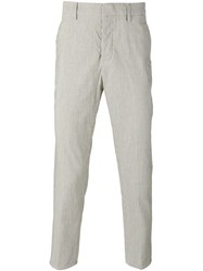 Dondup Woven Stripe Trousers Nude Neutrals