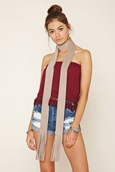 Forever 21 Fringe Faux Suede Scarf
