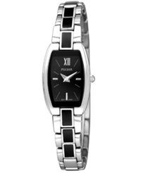 Pulsar Watch Women's Black Enamel And Stainless Steel Bracelet Pegf25 Women's Shoes