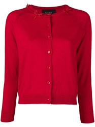 Simone Rocha Beaded Bow Cardigan Red