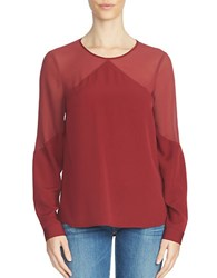 1.State Long Sleeve Sheer Yoke Blouse Wine
