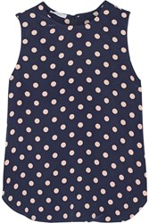 Equipment Lyle Polka Dot Washed Silk Top Blue