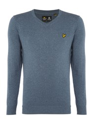 Lyle And Scott V Neck Long Sleeve Jumper Light Blue