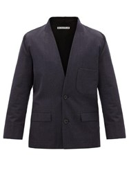 Sasquatchfabrix. Sasquatchfabrix Layered Single Breasted Wool Jacket Navy