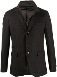 Paoloni Single Breasted Patterned Blazer Brown