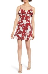 Band Of Gypsies Floral Print Ruffle Dress Red Ground Floral