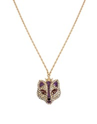 Betsey Johnson Pave Fox Pendant Necklace Purple