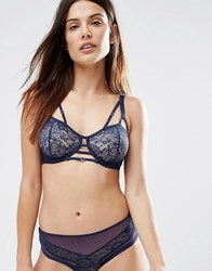 Wolf And Whistle Navy Lace Open Cup Bra Navy