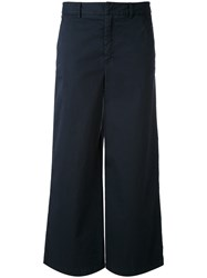 Red Valentino Wide Leg Trousers Women Cotton Spandex Elastane 42 Blue