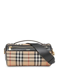 Burberry The Vintage Check And Leather Barrel Bag Brown