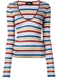Dsquared2 Scoop Neck Striped T Shirt