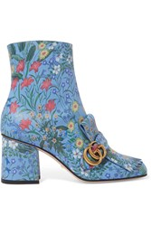 Gucci Marmont Fringed Floral Print Leather Ankle Boots Blue