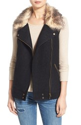 Junior Women's Thread And Supply Knit Back Moto Vest With Faux Fur Collar