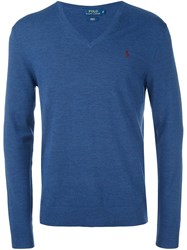Polo Ralph Lauren V Neck Jumper Blue
