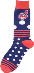 For Bare Feet Cleveland Indians Dots And Stripes 538 Socks Navy