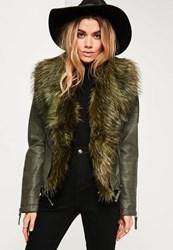 Missguided Khaki Faux Fur Collar Faux Leather Jacket
