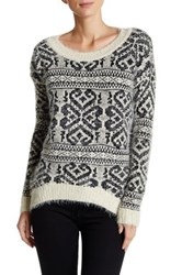 Papillon Fuzzy Printed Long Sleeve Sweater White
