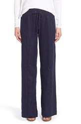 Petite Women's Eileen Fisher Organic Linen Wide Leg Pants Midnight
