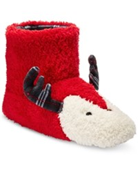 Kensie Women's Holiday Deer Slipper Boots Red