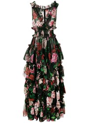 Dolce And Gabbana Floral Print Evening Dress Black