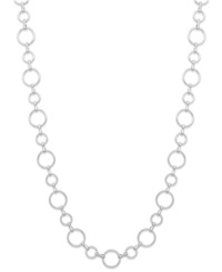 Charter Club Silver Tone Geometric Link Long Chain Necklace