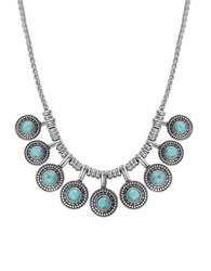 Lucky Brand Jeweled Medallion Necklace Silver
