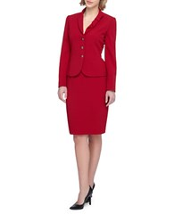 Tahari By Arthur S. Levine Shawl Bow Collar Three Button Jacket Skirt Suit Red