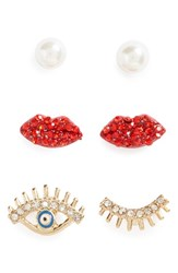 Topshop Women's Set Of 3 Pearl Lip And Eye Earrings