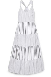 The Great Glen Picot Trimmed Striped Cotton Poplin Maxi Dress Blue