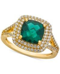 Macy's Lab Created Emerald 1 1 2 Ct. T.W. And White Sapphire 1 2 Ct. T.W. Ring In 14K Gold Plated Sterling Silver