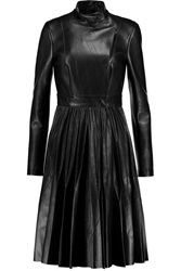 Vionnet Pleated Leather Dress Black