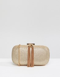 True Decadence Glitter Clutch Bag With Tassel Detail Champagne Gold