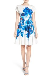 Women's Halogen Back Bodice Overlay Cotton Fit And Flare Dress Ivory Blue Painted Floral
