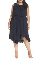 Vince Camuto Cinched Chiffon Maxi Dress Plus Size Classic Navy