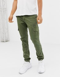 Voi Jeans Cuffed Cargo Trousers In Tapered Fit Black