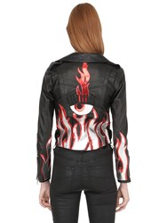 Chiara Ferragni Leather Biker Jacket W Flames