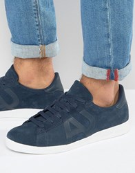 Armani Jeans Suede Logo Trainers In Navy Navy