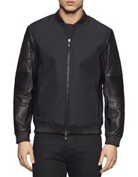 Calvin Klein Long Sleeve Leather Bomber Jacket Black