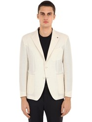 Tagliatore Unlined Cotton Linen Blend Jacket White